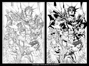 Justice League: Comparison Pencils and Inks by frogeybeag