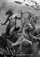 Poseidon greyscale by DavidAP