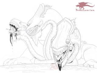 Inktober 11 - Cerberus by Drakesaurian