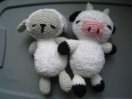 Sleepy Sheep and Sleepy Cow by skookyspry
