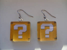 Super Mario Bros Fan art Earrings Question Block by skatemaster007