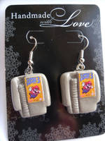 Super Mario 3 Fan Art Earrings Poly Clay Cartridge by skatemaster007