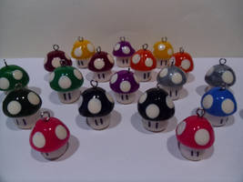 Nintendo Fan Art Mushroom Army polymer clay by skatemaster007