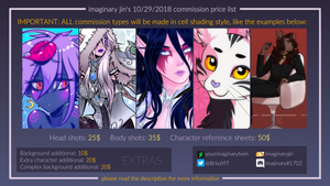 Commission Prices list - October-November, 2018 by YourImaginaryTwin