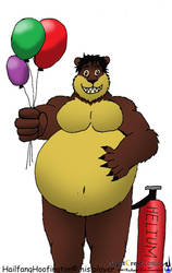 A ballooned moob brown bear by Dontbow