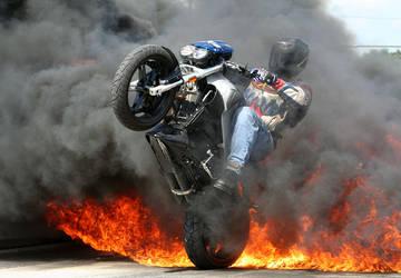 Fire Wheelie by laracroft