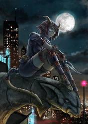 Tiefling in the Moonlight by Maxa-art