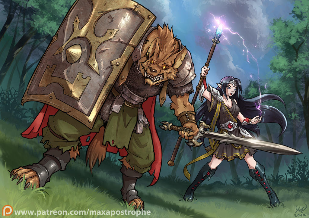 Gnoll Warrior and Elf Mage by Maxa-art