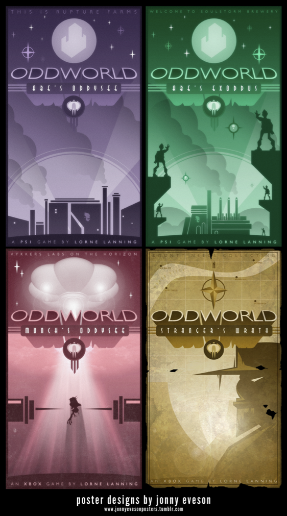All Oddworld Art Deco Posters by ameba2k