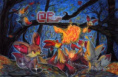 Poke Days: Fennekin Family by Pixelated-Takkun