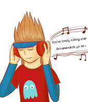 Namco with headphones by Zanreo