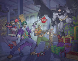 Batman Vs The Joker and Harley Quinn by davidstonecipher