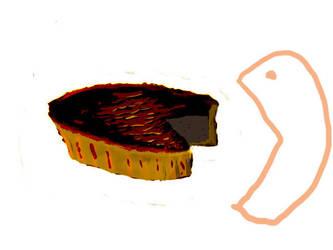Pac-man eating pie by Elaroi