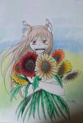Wolf and the field of sun flowers by manga-inu-chan
