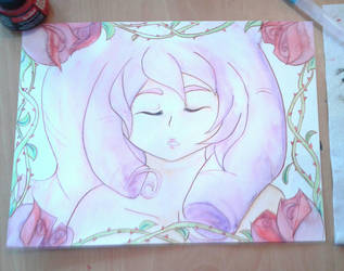 Rose Quartz painting  by manga-inu-chan