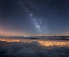 Milky Way Above a Sea of Clouds by RobertoBertero