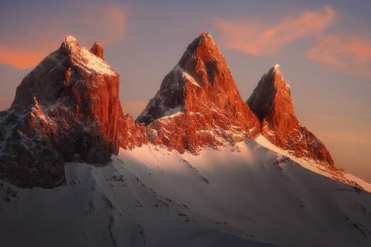 Aiguilles d'Arves at Sunset by RobertoBertero