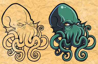 Chthulu Tattoo Flash by grimcinder