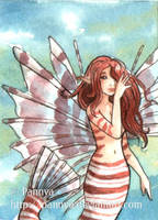 Lionfish Mermaid ACEO by Pannya