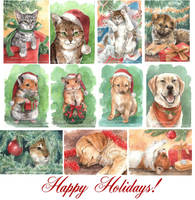 Happy Holidays '08 ACEO set by Pannya