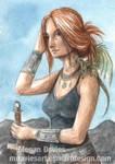 Dragon Huntress ACEO by Pannya