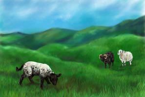Sheepy landscape by Pannya