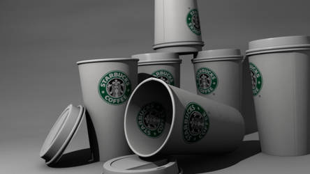 Starbucks coffee cups by McZlik