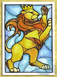 ACEO/ATC: Crowned Lion by crocodiledreams