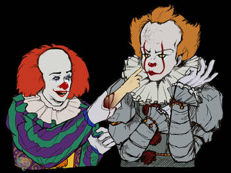 1990 and 2017 Pennywise by ButeonineOwl