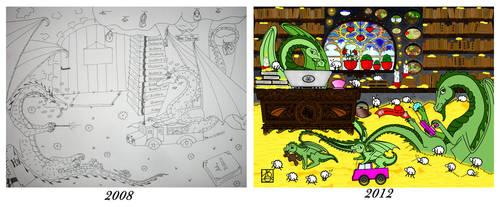 My dragons - 2008 and 2013 by hildur-k-o