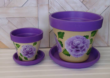 10 Inch Hand Painted Terracotta Flower pot by sweetpie2