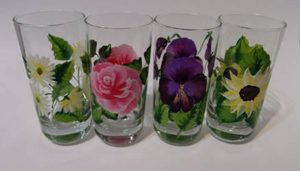 Another set of Mixed Flower glasses by sweetpie2