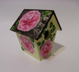 Another brown roof pink rose Birdhouse by sweetpie2