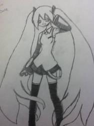 My first drawing of Hatsune Miku by SodaTart