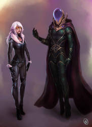 Mysterio and Blackcat by jaeon009
