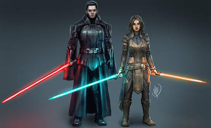 Darth Travus and Ellain Drallin by jaeon009