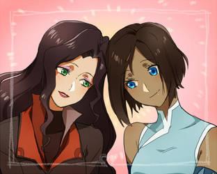 Korra and Asami by CATGIRL0926