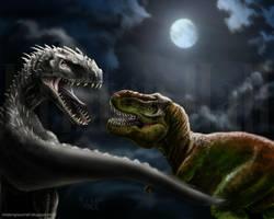 Rex Fight by MonocerosArts