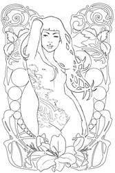 Art Nouveau V sketch by DanielaUhlig