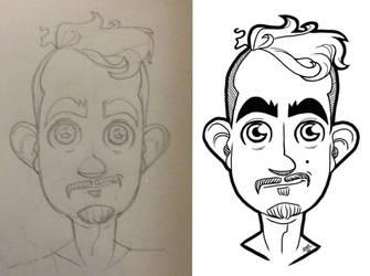 Selfie Sketch . Pencil to iPad . by dannydarkmage