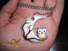 Owl in the moon by elbuhocosturero