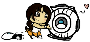 Chell and Wheatley by Fawnan