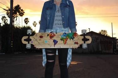 World Map- Hand Painted Longboard Deck by kohoutartstudios