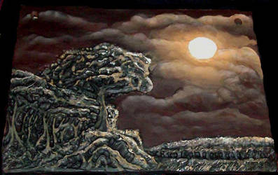 Nightscape, Sculpted Painting by jemnisimi