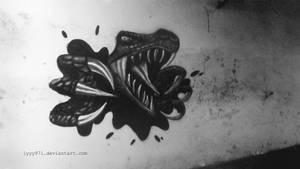 Dinosaur - Street art by lyyy971