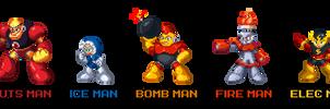 Mega Man Robot Masters in Mega Man 8 Style by AntonDaVVish
