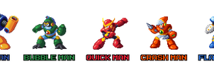 Mega Man 2 Robot Masters in Mega Man 8 Style by AntonDaVVish