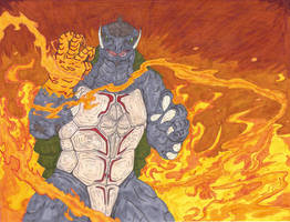 Gamera's fist is glowing red by NVraptor08