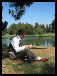 Remus Lupin Reading by ShadowWalkerInc