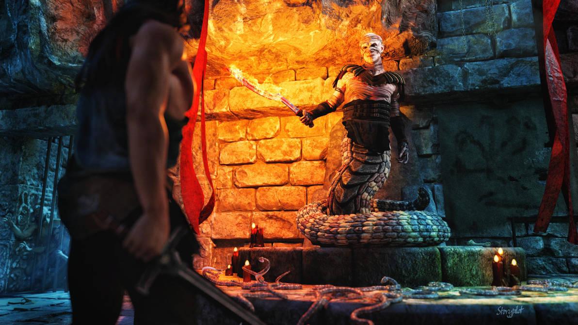 Snake Warlord Fantasy Art Villain by storypilot